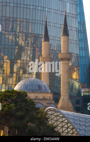 Azerbaijan, Caucasus, Eurasia, Baku, Flame, architecture, city, mosque, new, skyline, touristic, towers  Shakhidlar, - Stock Photo