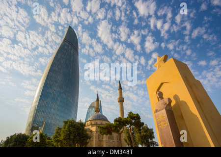Aslanov Azerbaijan Caucasus Eurasia Baku Flame Hiyabani Russia Shadhidlar architecture city clouds history historical - Stock Photo