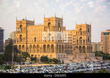 Azerbaijan, Caucasus, Eurasia, Baku, Government, administration, architecture, city, house, sunset, travel, cars - Stock Photo