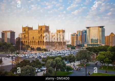 Azerbaijan Caucasus Eurasia Baku Government administration architecture avenue city downtown house park skyline - Stock Photo