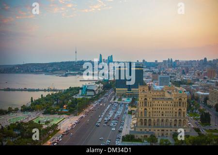 Azerbaijan Caucasus Eurasia Baku Government aerial architecture avenue bay cars city downtown fountains skyline - Stock Photo