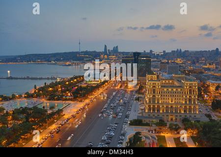 Azerbaijan Caucasus Eurasia Baku Government aerial architecture avenue bay cars city downtown fountains government - Stock Photo