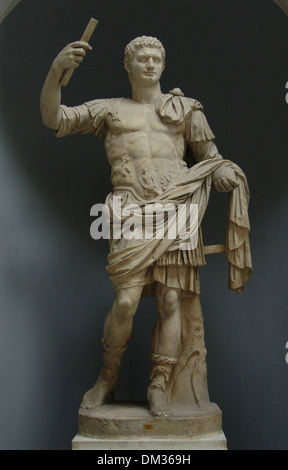 Domitian (Titus Flavius Domitianus), (51-96). Roman Emperor from 81 to 96 A.C. Flavian dynasty. Statue as Emperor. - Stock Photo