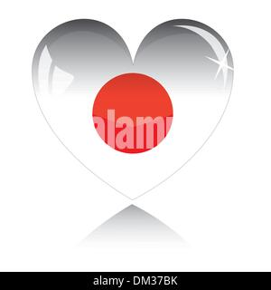 Vector heart with Japan flag texture isolated on a white. - Stock Photo