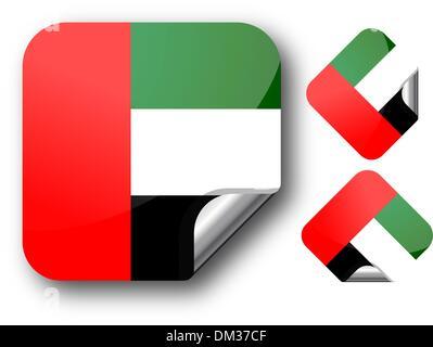 Sticker with united arab emirates flag - Stock Photo
