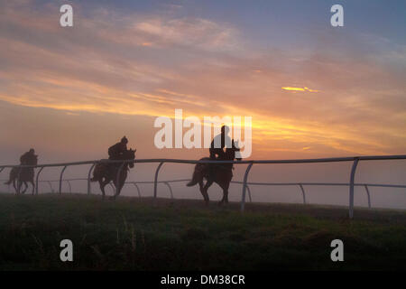 Fog & Inversion Layer over Middleham Gallops, as the sun rises over the North Yorkshire Dales.   Middleham now boasts its own grass and all-weather racing gallops with horsetrack plastic running rail on the Low and High Moors.  Middleham is established as a leading horse training centre in the UK where fifteen trainers are based. The facilities and layout have continued to improve allowing trainers to send out fit and competitive athletes jockeys which have been rewarded with further success at the top level.