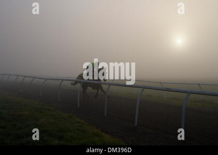 Middleham, Yorkshire, UK. 11th December 2013.   Early morning Uk Weather with Uk Weather Fog & Inversion Layer over Middleham Gallops, North Yorkshire Dales.   Middleham now boasts its own grass and all-weather gallops with horsetrack plastic running rail on the Low and High Moors.  Middleham is established as a leading training centre in the UK where fifteen trainers are based. The facilities and layout have continued to improve allowing trainers to send out fit and competitive athletes and have been rewarded with further success at the top level. © Mar  Photographics/Alamy Live