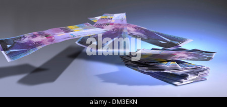 Money finances invest Switzerland Swiss franc symbol concepts restacking Franc Thousand thousand franc note Multi - Stock Photo