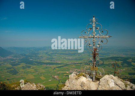 1738 m Allgäu Alps view view view mountain Bavaria mountain mountainous landscape German Germany village Europe - Stock Photo