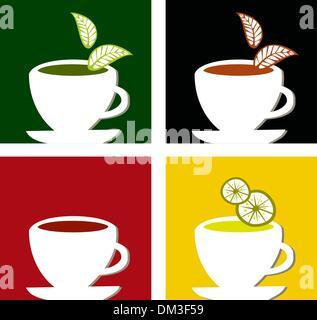 colorful square tea labels composition - Stock Photo