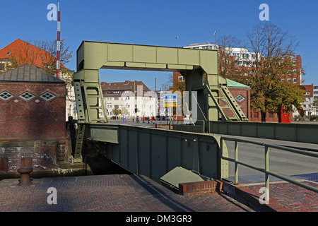 Europe Germany Bremen Bremerhaven Hermann-Heinrich-Meier-Strasse H.-H.-Meier-Strasse old harbour port street drawbridge - Stock Photo