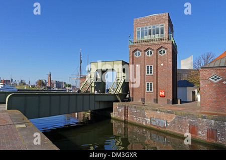 Europe Germany Bremen Bremerhaven Hermann-Heinrich-Meier-Strasse H.-H.-Meier-Strasse old harbour port railroad drawbridge - Stock Photo