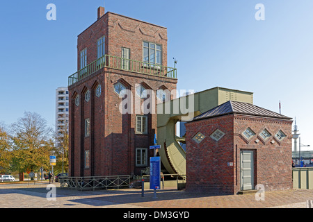 Europe Germany Bremen Bremerhaven Hermann-Heinrich-Meier-Strasse H.-H.-Meier-Strasse new harbour port railroad drawbridge - Stock Photo