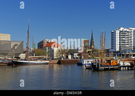 Europe Germany Bremen Bremerhaven Hermann-Heinrich-Meier-Strasse H.-H.-Meier-Strasse new harbour port historical - Stock Photo