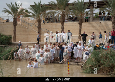Baptism in the River Jordan, Israel. - Stock Photo