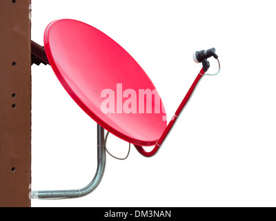 Satellite dishes isolate on a white background - Stock Photo