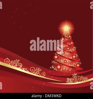 Glowing Christmas tree in a red winter garden - Stock Photo
