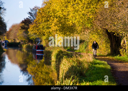 Still autumn morning on the Kennet and Avon canal at Bathampton Somerset England UK Cyclist on the towpath - Stock Photo