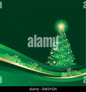 Glowing Christmas tree in a green winter garden - Stock Photo