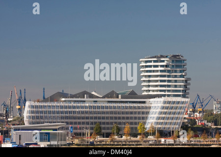 Architecture outside building federal republic German Germany Europe buildings constructions harbour port harbour - Stock Photo