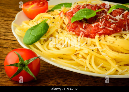 traditional spaghetti pasta with tomato sauce on a plate - Stock Photo