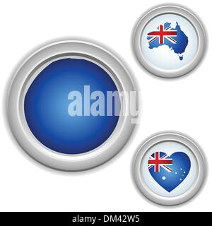 Australia Buttons with heart, map and flag - Stock Photo