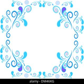 Floral and spiral elements border frame. Vector. - Stock Photo