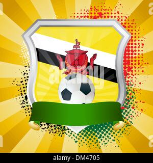 Shield with flag of  Brunei - Stock Photo