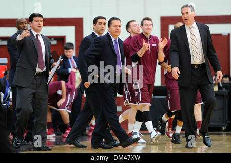 Hamilton, New York, USA. 10th Dec, 2013. December 10, 2013: Fordham Rams players and coaches react during the second half of an NCAA Basketball game between the Fordham Rams and the Colgate Raiders at Cotterell Court in Hamilton, New York. Fordham defeated Colgate 77-73. Rich Barnes/CSM/Alamy Live News Stock Photo