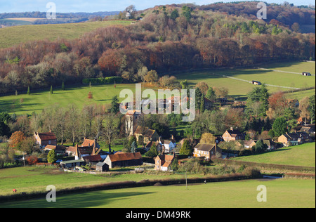 An English Rural Landscape in the Chiltern Hills with the Hamlet of Fingest in the distance - Stock Photo