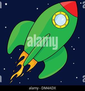 Cartoon rocket ship - Stock Photo