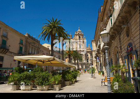 Italy Sicily South Italy Europe island San Giorgio Piazza Duomo cathedral cathedral dome architecture building construction - Stock Photo