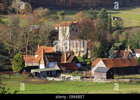 An English Rural Landscape in the Chiltern Hills with the Hamlet of Fingest - Stock Photo