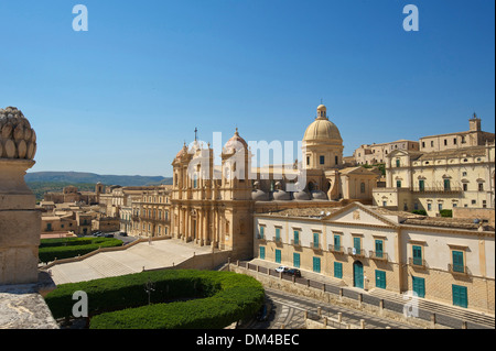 Italy Sicily South Italy Europe island San Nicolo Noto Val di Noto province Siracusa cathedral dome cathedral architecture - Stock Photo