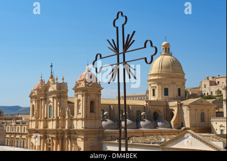 Sicily Italy South Italy Europe island San Nicolo Noto Val di Noto province Siracusa cathedral dome cathedral architecture - Stock Photo