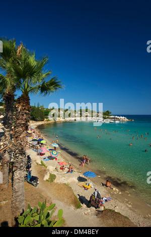 Italy Sicily South Italy Europe island Fontane Bianche Syracuse palm beach beach seashore coast Mediterranean Sea - Stock Photo