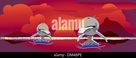 sunset jumping dolphins - Stock Photo