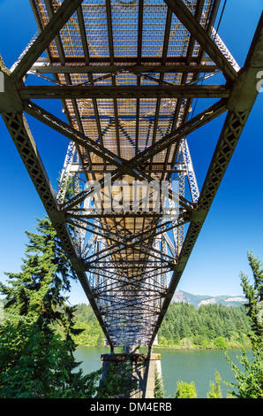 View from below the Bridge of the Gods running over the Columbia River and connecting Oregon to Washington - Stock Photo