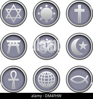 World religion symbol web icons - Stock Photo