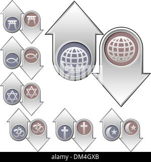 World religion icons on up and down arrows - Stock Photo