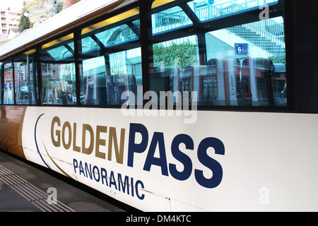 Golden pass panoramic train in Switzerland - Stock Photo