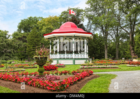 The bandstand or gazebo in the Halifax Public Gardens in Halifax, Nova Scotia. - Stock Photo