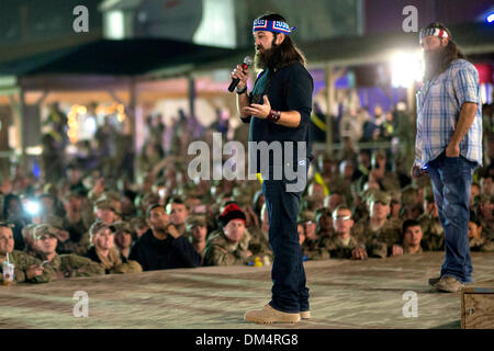 Camp Leatherneck, Helmand, Afghanistan. 10th December 2013. Duck Dynasty reality television stars Jep Robertson - Stock Photo
