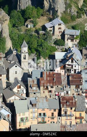 Aerial View of Péone or Peone Alpine Village near Valberg Haut-Var Alpes-Maritimes France - Stock Photo