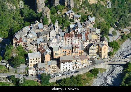 Aerial View of Péone or Peone Village Haut-Var Alpes-Maritimes France - Stock Photo