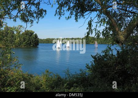 Germany, Krefeld, Rhine, Lower Rhine, Rhineland, North Rhine-Westphalia, Krefeld-Uerdingen, Elfrath lake, scenery, - Stock Photo