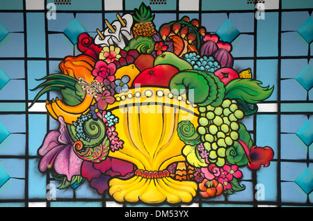 Stained glass window in the Mercado de la Ribera along the Nervion River at Bilbao, Biscay, Spain. - Stock Photo
