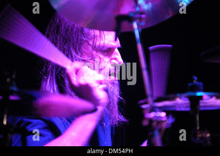 West Hollywood, California, USA. 11th Dec, 2013. Musician- BOBBY JARZOMBEK drummer for Fates Warning, on stage at - Stock Photo