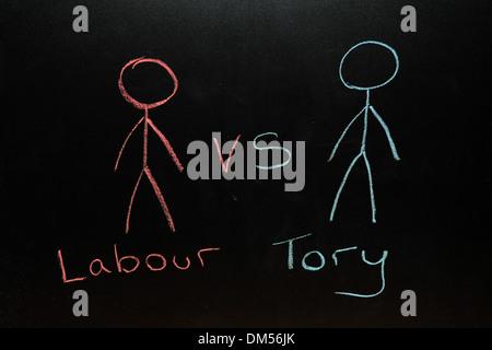 labour vs Tory drawn on a blackboard in chalk. - Stock Photo