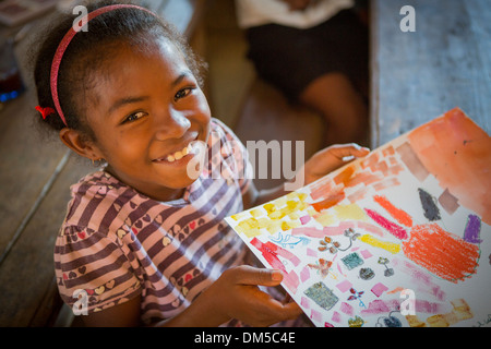 A child in art class in Vatomandry District, Madagascar. - Stock Photo